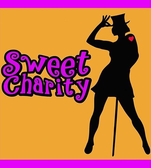 "Silohoutte of women wearing top hat with text that reads ""Sweet Charity"""